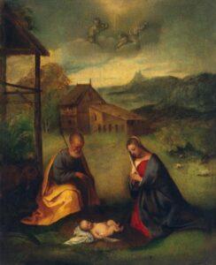 Tiziano Vecellio Sacra Famiglia Olio su tavola trasportato su tela 49x39,5 cm San Pietroburgo, Museo Statale Ermitage